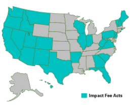 Map of States allowing impact fees