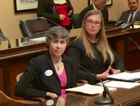 Erin Gray testifying in Sacramento