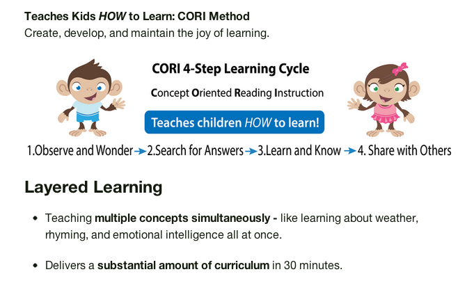 TreeSchoolers teaches kids HOW to learn with the CORI Method