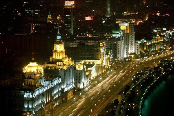 Shanghai Bund night Tales of Two Cities