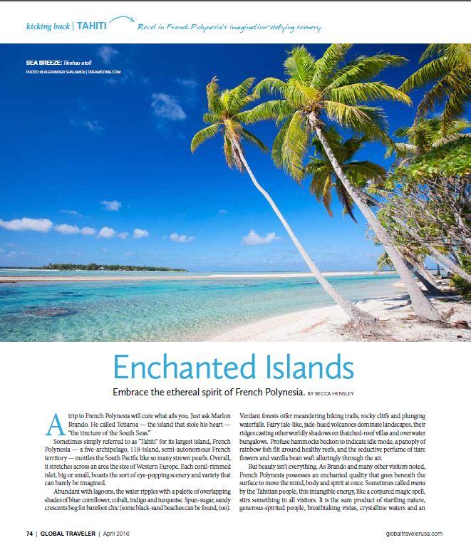 Tahiti Et Ses Îles dans le magazine Global Traveler