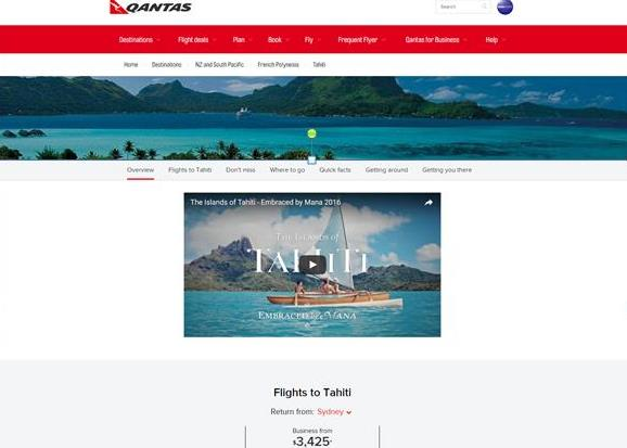 Tahiti Et Ses Îles sur Quantas.com