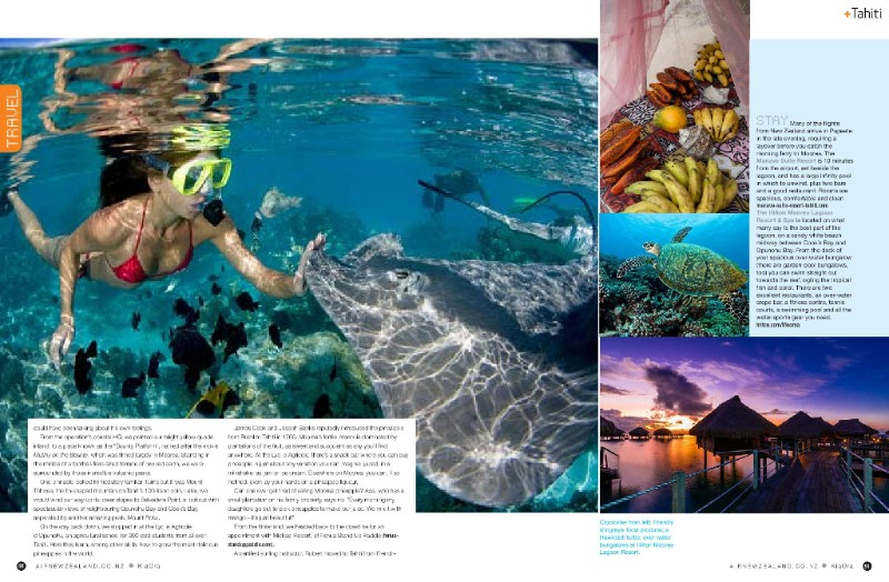 Kia Ora Magazine consacre 7 pages sur Moorea