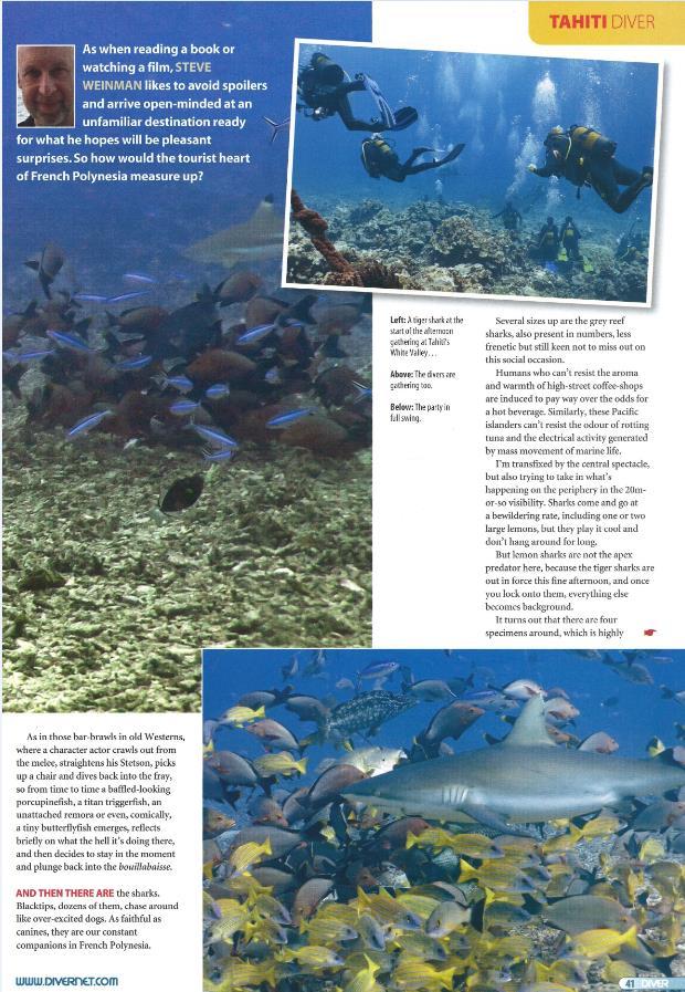 Diver Magazine consacre 6 pages à la faune et la flore de Tahiti Et Ses Îles