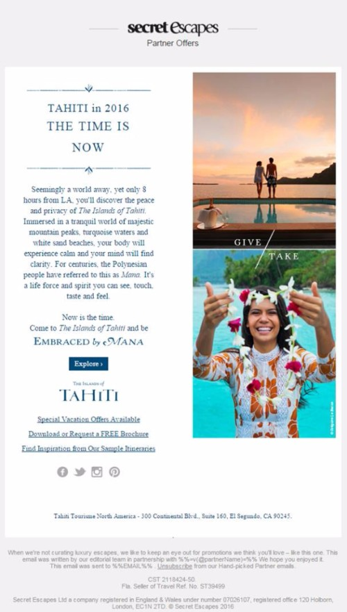 Campagne globale Tahiti Et Ses Îles