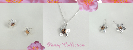 Pansy Copper & Sterling Silver Jewellery Collection
