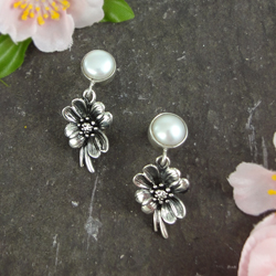 Cherry Blossom Silver & Pearl Earrings