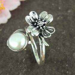Cherry Blossom Silver & Pearl Ring