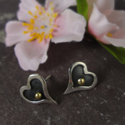 Love Heart oxidised sterling silver stud earrings