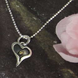 Love Heart Oxidised Heart Pendant