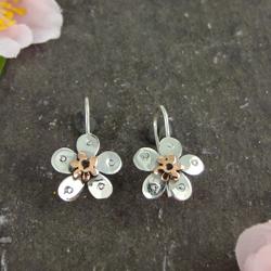 Pansy Silver & Copper Earrings