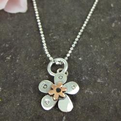 Pansy Copper & Silver Pendant