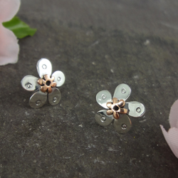 Pansy Copper & Sterling Silver Stud Earrings