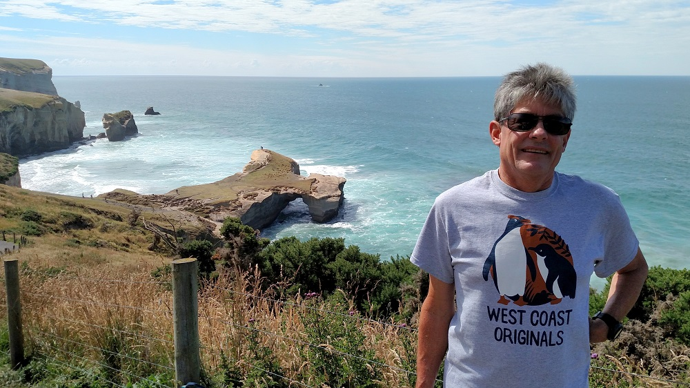 Craig Bleckinger models our shirt in Otago