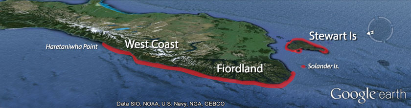 The range of Fiordland crested penguins - Google map adapted by Thomas Mattern