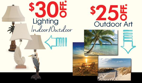 Save on Lighting and Outdoor Art!