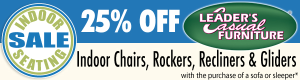 25% OFF Indoor Seating - Save on Chairs, Rockers, Recliners & Gliders