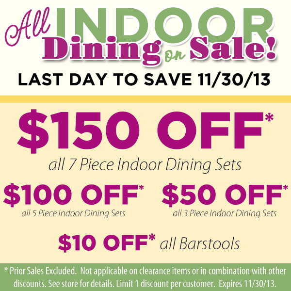 Indoor Dining Sale - Find Your Local Showroom