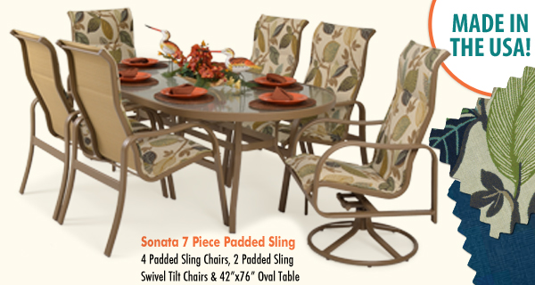Sonata 7 PIece Padded Sling Dining Set