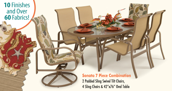 Sonata 7 Piece Sling with Padded Swivel Tilt Dining Set