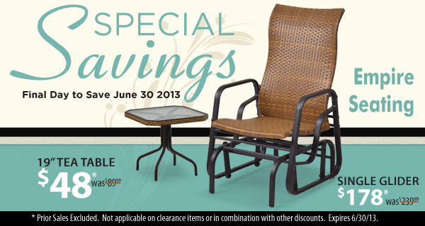 Empire Seating Single Glider & Tea Table Sale