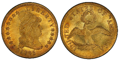 1795 Draped Bust $10 Gold Eagle - 13 Leaves, sold for $2,585,000 at Stacks/Bower in 2015