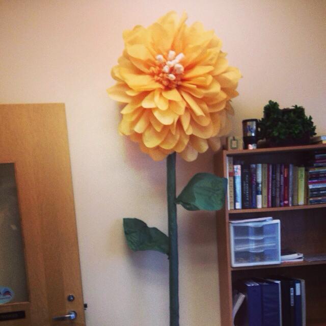 Large paper flower next to Bookshelf
