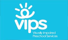 VIPS logo - white lettering on blue background