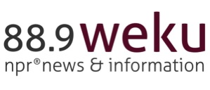 WEKU logo - 88.9 weku npr news & information, in maroon