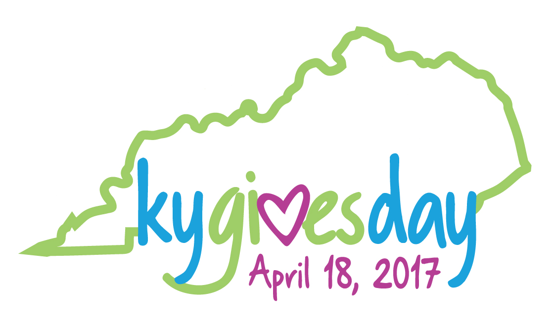green outline of Kentucky, bottom of state - kygivesday with a heart for the v, April 18, 2017