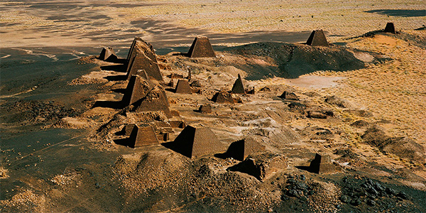 Funeral pyramids and temples from the Kingdom of Kush dating from 800 BC to AD 350 at Meroe, Sudan