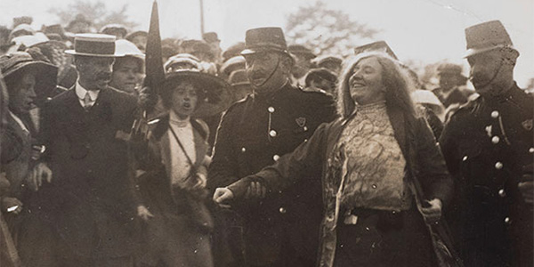 Kitty Marion is arrested after heckling Lloyd George at the Royal National Eisteddfod, Wrexham, September 5th, 1912