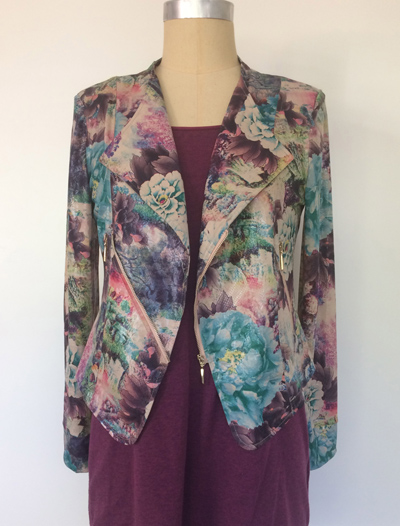 Front of Diva Jacket in blue peony