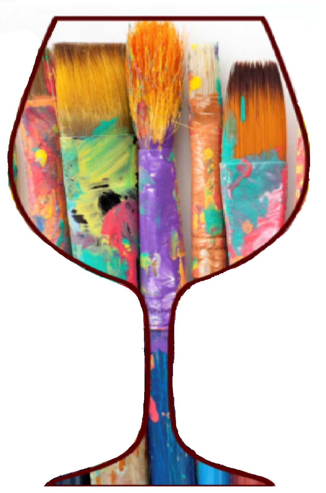 wine glass with paintbrushes
