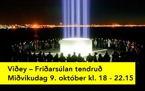 Friðarsúlan tendruð