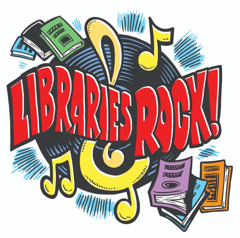 Libraries Rock logo, with books and a treble clef