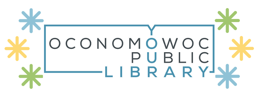 Blue and black logo for Oconomowoc Public Library