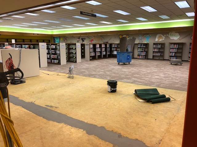 Photograph of room with bookshelves pushed to the back. Carpet has been pulled up from floor, revealing bare floor. Various tools and equipment are on the floor.