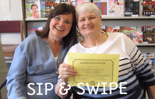 """Two women holding a certificate. Photo has a caption that reads """"Sip n Swipe"""""""