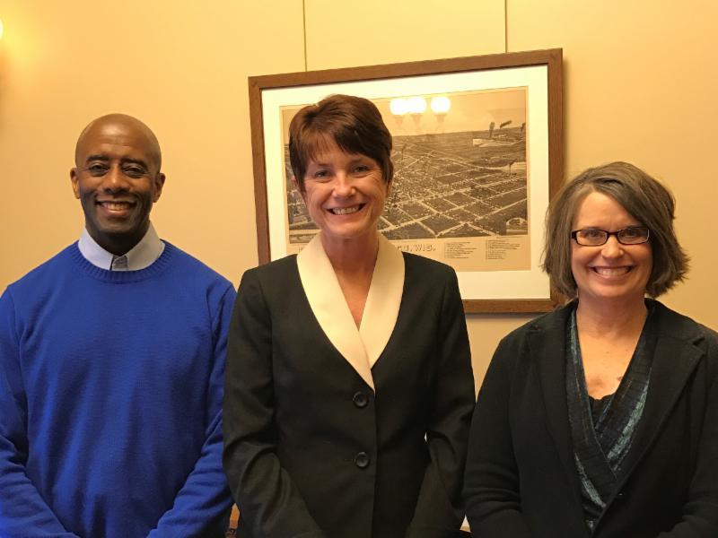 Director Connie Meyer, WLA director Plumer Lovelace, Representative Mary Felzkowski