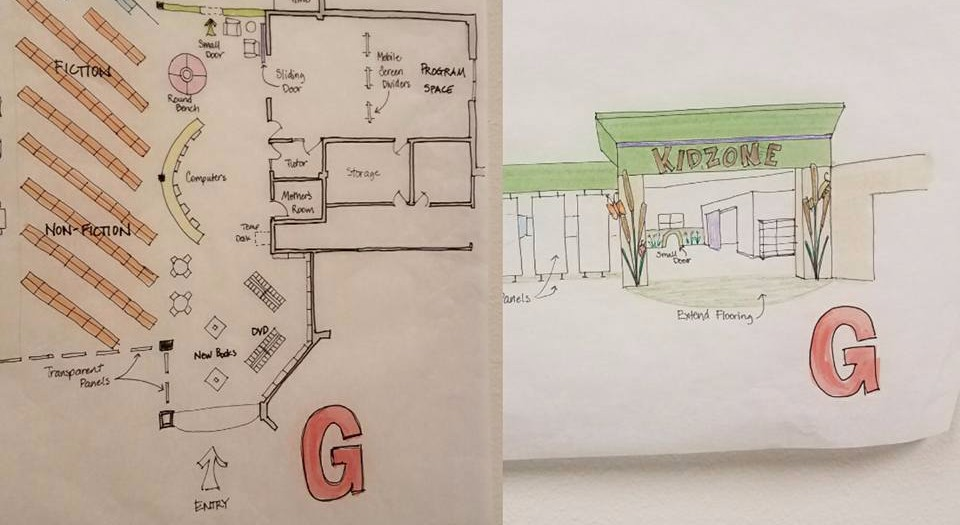 Colored sketches of a layout and entrance design for the library's children area