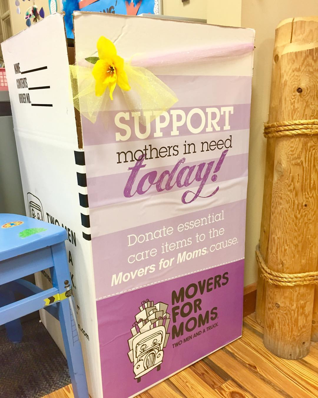 The Movers for Moms donation box at Pewaukee Public Library