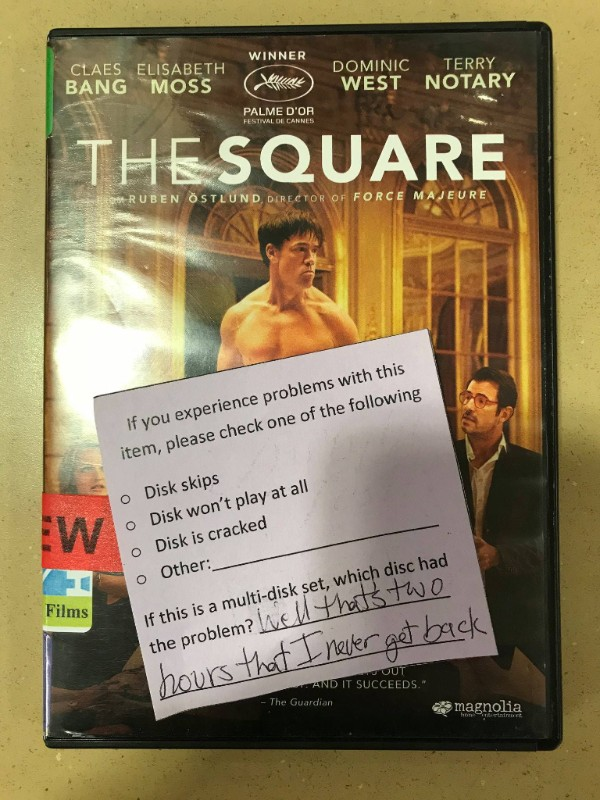 DVD of the movie The Square with a piece of paper on it