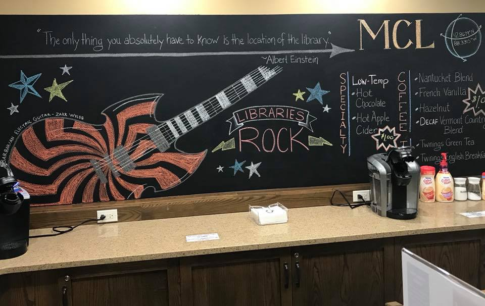 "Blackboard with guitar and ""Libraries Rock"" colored on it"