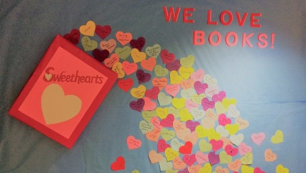 Brookfield Public Library bulletin board with hearts