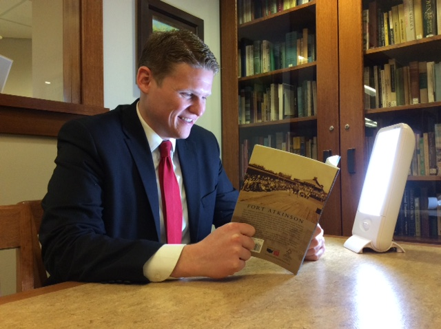 Rep. Cody Horlacher reading at Dwight Foster Public Library