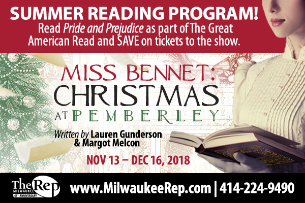 Woman in old-fashioned dress and gloves reading a book. Text gives instructions on Summer Reading Program at Milwaukee Rep.