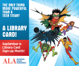 "Teen Titans logo that reads ""The only thing more powerful than a teen titan? A library card!"""