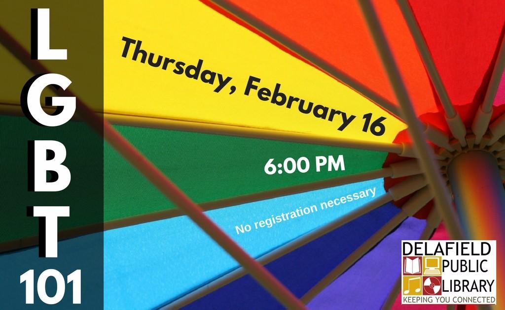 LGBT program flyer at Delafield Public Library