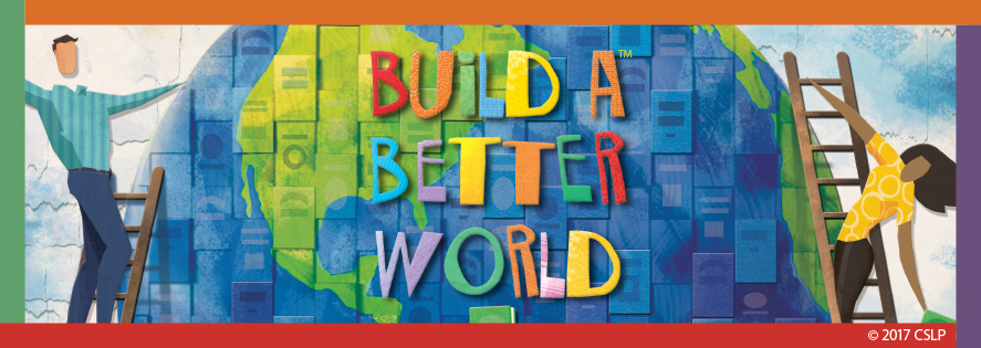 Build A Better World logo. People climbing ladders up to a large globe.